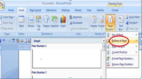 cara membuat halaman di word 2007 berurutan cara membuat nomor halaman otomatis pada microsoft word