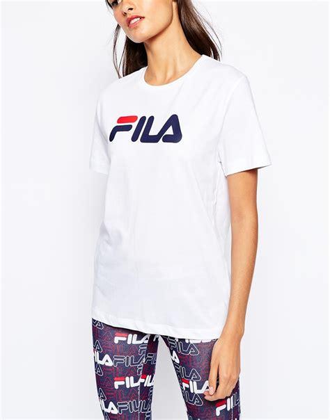 Sweater Fila Logo lyst fila oversized boyfriend t shirt with front logo in white