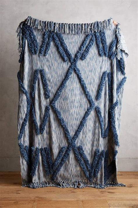aldalora blue diamond fringe throw blanket
