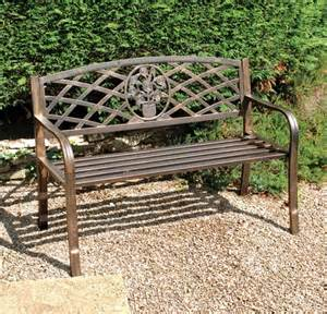 attractive copper effect metal garden bench seat
