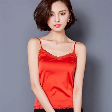 Glow Silk Vneck Top summer tank top sleeveless v neck silk basic tops blusas casual plus size vest