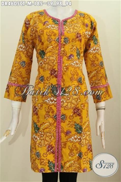 Dress Kancing Depan by Baju Dress Batik Kuning Model Kancing Depan Kwalitas Bagus