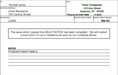 Restart Notice Construction Delay Report Template