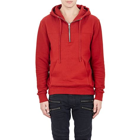 Hoodie Zipper Marine One Brothersapparel lyst balmain side zip hoodie in for