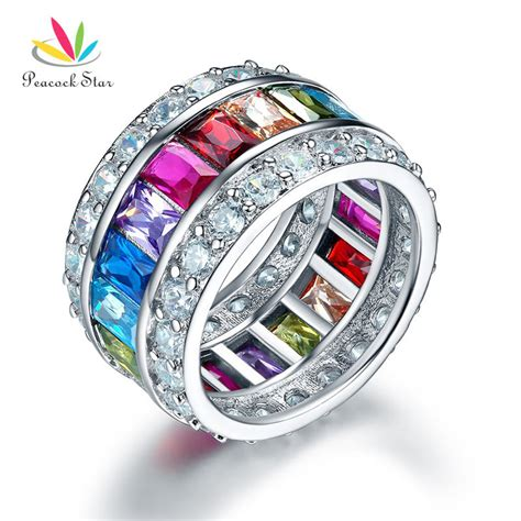 Cincin Multi Color 925 Silver Ring peacock multi color band wedding anniversary solid 925 sterling silver ring jewelry