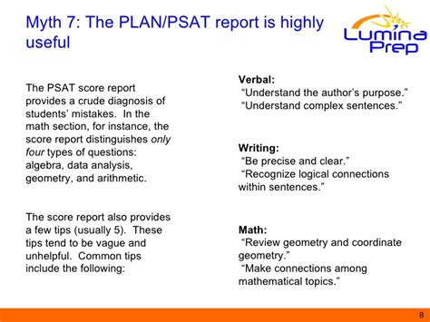 the psat includes which of the following sections top ten myths about the sat act