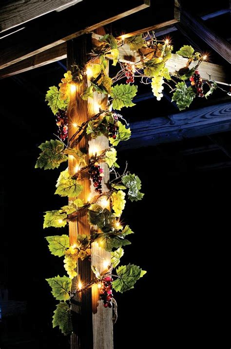 grapevine with lights for decorating 108 quot l lighted grapevine with grapes leaves twig garland