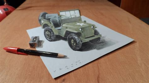 jeep drawing easy drawing 3d jeep how to draw a 3d willys mb jeep