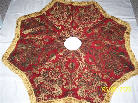 christmas tree skirt made of tapestry fabric with by