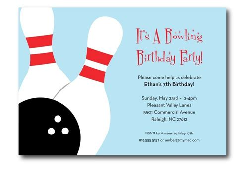 free printable bowling birthday party invitations new