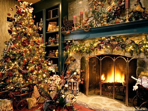 christmas desktop wallpapers fireplace pictures