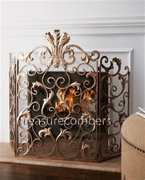 acanthus fireplace screen 3 panel antique gold iron