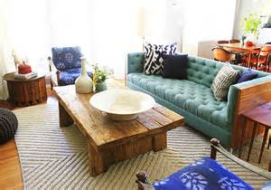 Living Room Turquoise Sofa Turquoise Tufted Sofa Eclectic Living Room Emily
