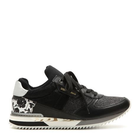 dolce gabana sneakers lyst dolce gabbana low top leather and cotton sneakers