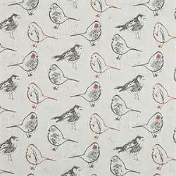 curtain fabric with bird print bird toile scarlet slub canvas printed drapery fabric by