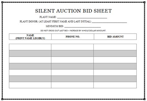 30 silent auction bid sheet templates word excel pdf