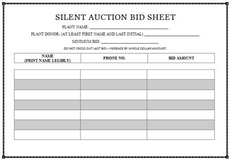 bid bid 10 silent auction bid sheet templates free