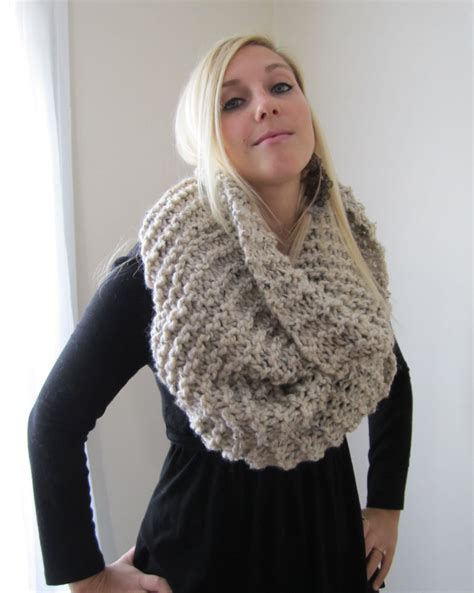 snuggly chunky knit cowl oatmeal infinity scarf