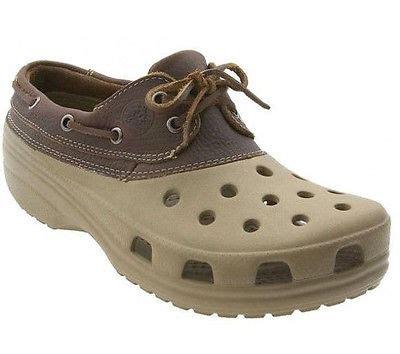 crocs rubber boat shoes crocs islander boat shoe leather lace brown sport sandal