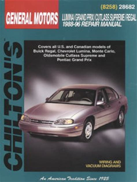 free auto repair manuals 1989 pontiac grand prix electronic valve timing chilton gm lumina grand prix cutlass supreme regal 1988 1996 repair manual