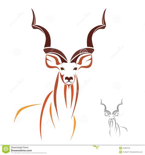 greater kudu stock vector illustration of botswana