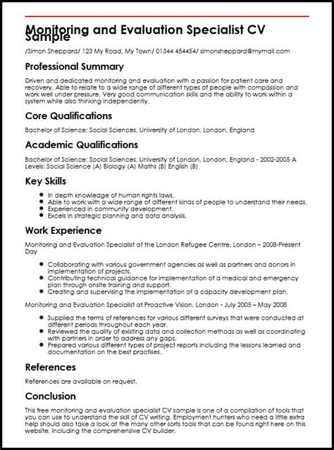 monitoring and evaluation report writing template monitoring and evaluation specialist cv sle myperfectcv