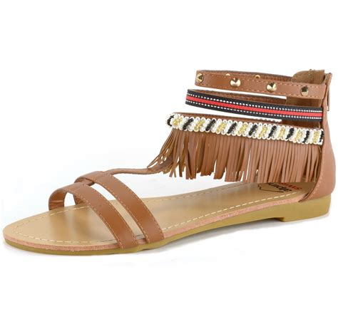 gladiator sandals with fringe alpine swiss womens fringe sandals beaded studded