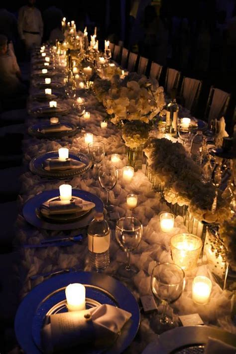 Kara's Party Ideas Lit up Dining Table from an Elegant