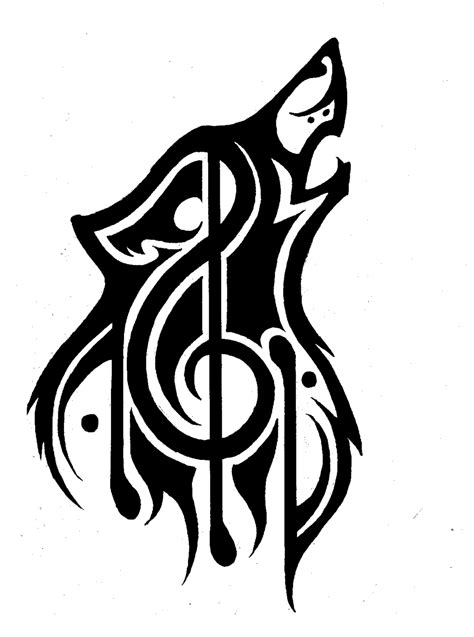 music note tribal tattoos tribal wolf theme refined by p d kiko on