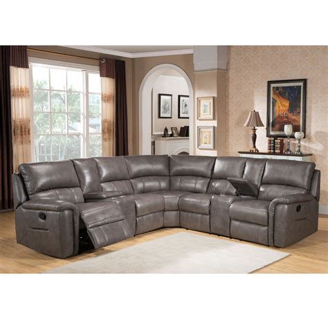 Cortez Premium Top Grain Gray Leather Reclining Sectional Leather Sofa Sectional