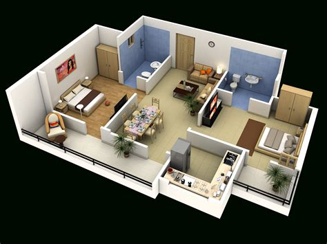 2 floor bed 4 bedroom luxury apartment floor 3d plan 2 bedroom house
