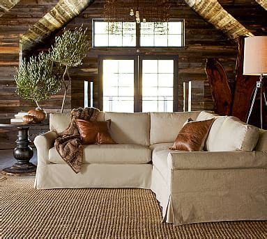 pottery barn l shaped couch york roll arm slipcovered 3 piece l shaped sectional with