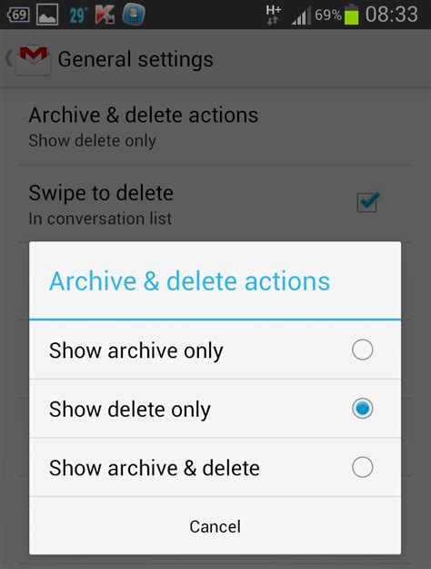 how to delete a gmail account on android phone enable delete button in new gmail android app