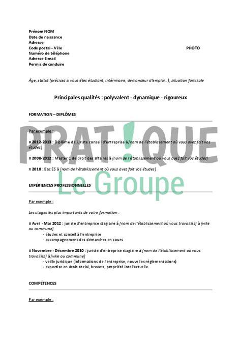 Modele De Lettre Reprise D Entreprise mod 232 le de cv pour un emploi de juriste d entreprise