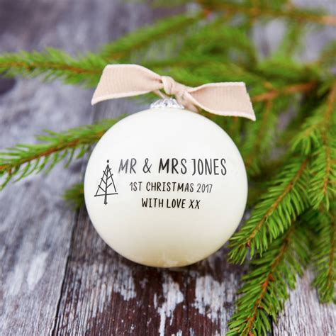 mr and mrs first christmas bauble by a touch of verse