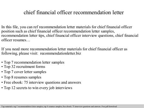 Letter Of Recommendation For Chief Financial Officer Chief Financial Officer Recommendation Letter