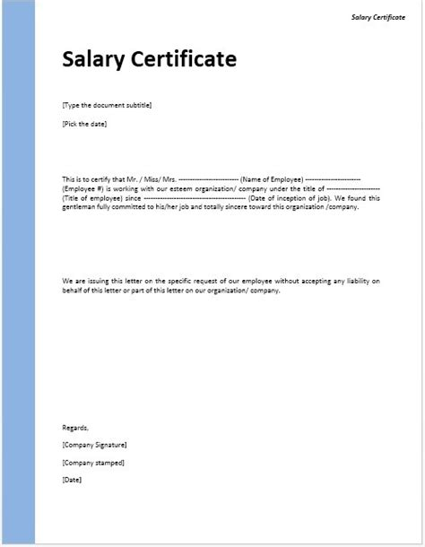 certification of employment letter with salary salary certificate template stationary templates