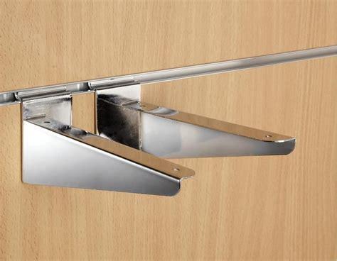 8 quot inch 20cm chrome slatwall wood shelf brackets pair