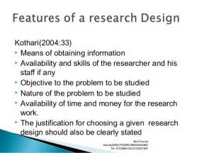 research design definition by kothari research design