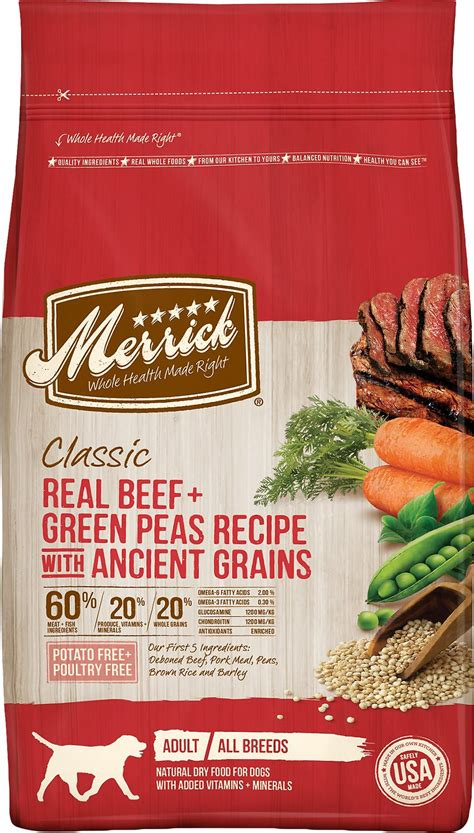 Merrick Classic Real Beef 25 Lbs merrick classic real beef green peas recipe with ancient