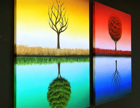 seasonal tree in 4 panels domemade paint your using