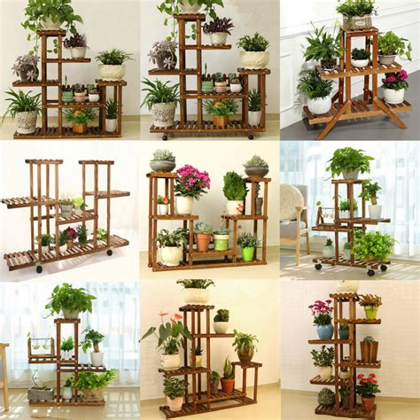 tier wooden plant stand indoor outdoor garden planter