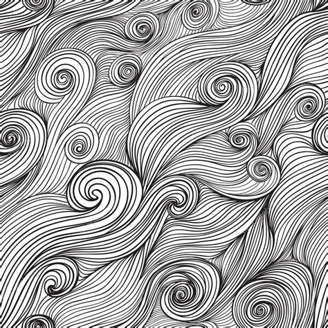 hand drawn pattern background vector seamless wave hand drawn pattern waves background