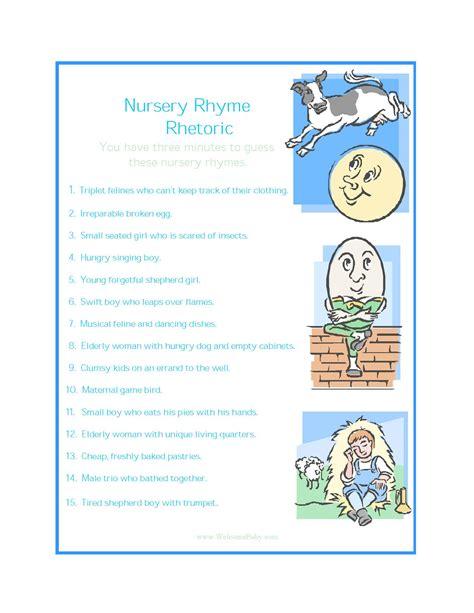 printable nursery rhymes nursery rhyme baby shower game printable life style by