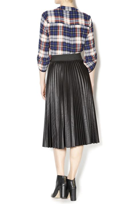 1018 leather pleated midi skirt from new jersey by
