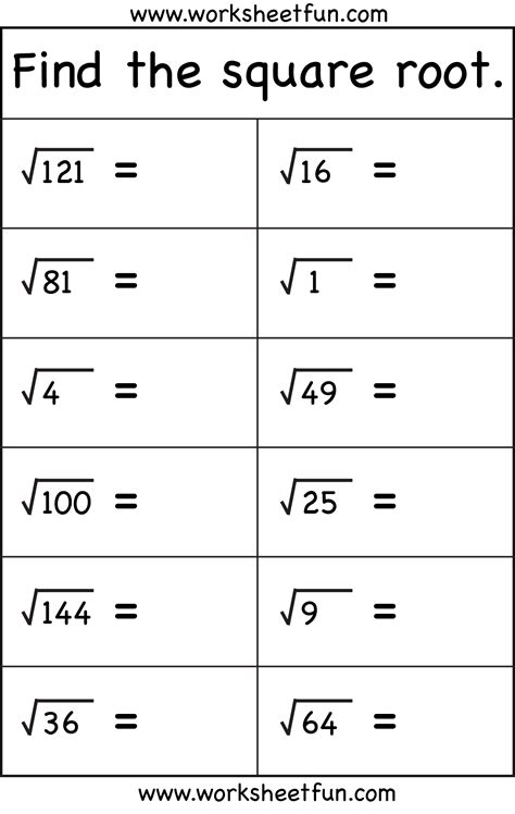 Printable Math Worksheets Square Roots | square root 1 worksheet free printable worksheets