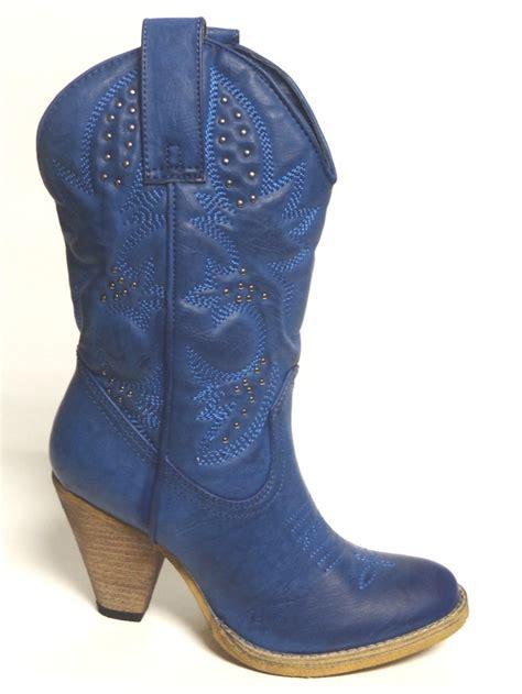 high heel western boot volatile western boots quot denver petrol quot blue