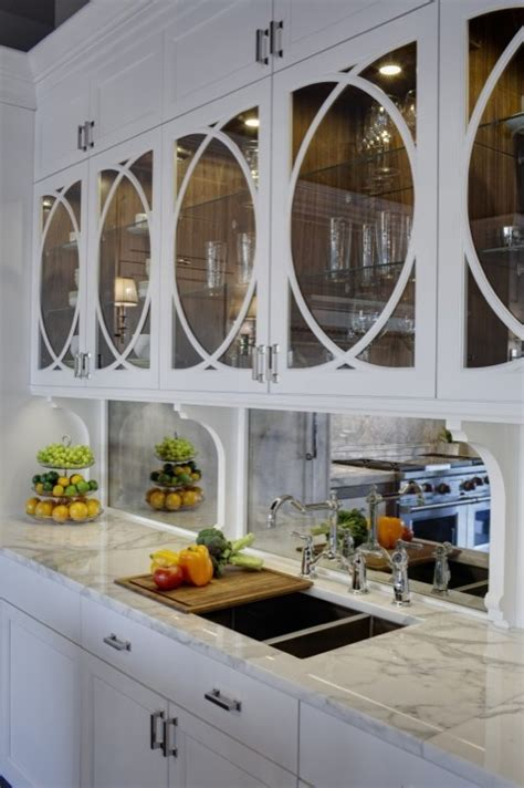 modern and cool mirror backsplash for modern kitchen