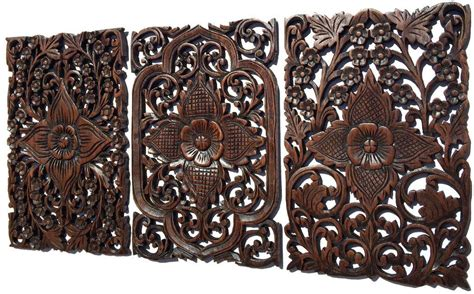 wood wall decor lotus flower multi panels asian home decor decorative thai wall relief