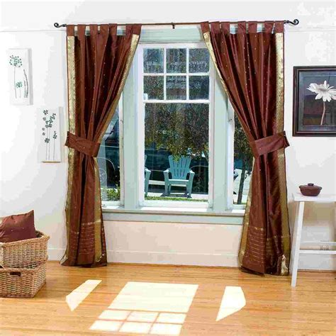 brown tab top curtains indo brown tab top sari sheer curtain 43 in x 84 in